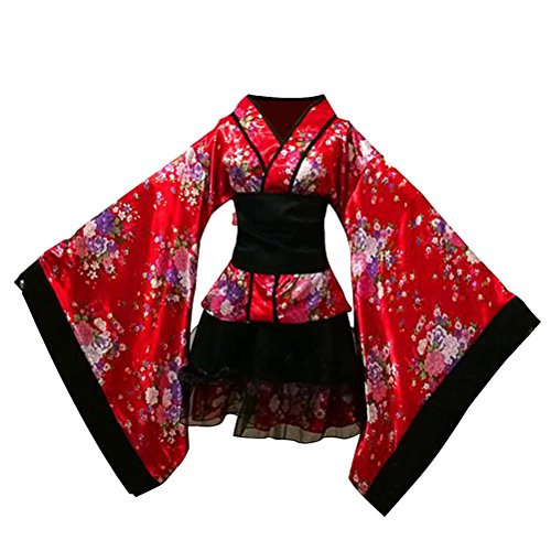 LUOEM Robe de Maid traditionnelle japonaise Kimono Cosplay O